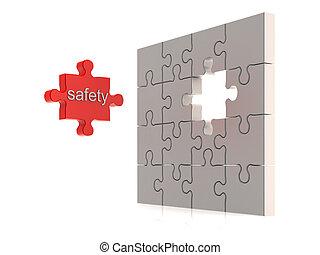 seguridad, rompecabezas, concepto
