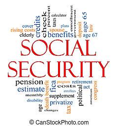 seguridad social, palabra, nube, concepto