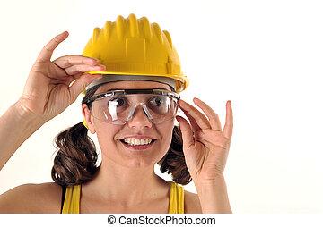 seguridad, sombrero, y, anteojos