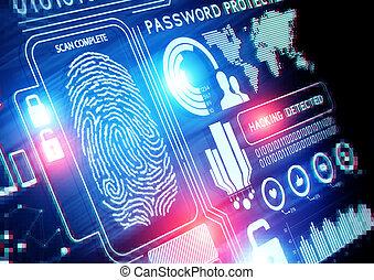 seguridad, tecnología, en línea