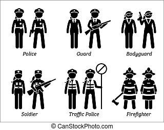 seguridad, trabajos, público, women., ocupaciones