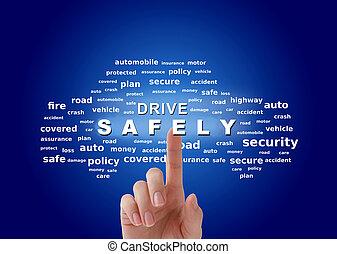 seguridad, unidad, concept., conducción, seguro