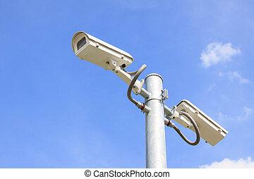 seguridades, cctv, pared, cámara