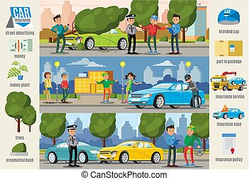 seguro automóvel, infographic, horizontais, casos, bandeiras