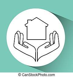 seguro, casa, proteção, ícone