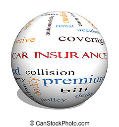 seguro de automóvil, 3d, esfera, palabra, nube, concepto