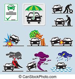 seguro de automóvil, iconos