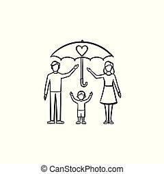 seguro, de, membros familiares, mão, desenhado, esboço, ícone