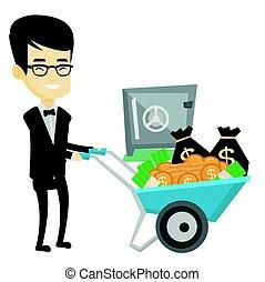 seguro., empresa / negocio, dinero, depositar, banco, hombre