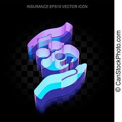 seguro, icon:, 3d, néon, glowing, família, e, palma, feito, de, vidro, eps, 10, vector.