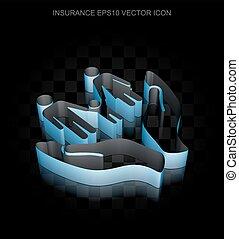seguro, icon:, azul, 3d, família, e, palma, feito, de, papel, transparente, sombra, eps, 10, vector.