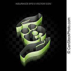 seguro, icon:, verde, 3d, família, e, palma, feito, de, papel, transparente, sombra, eps, 10, vector.