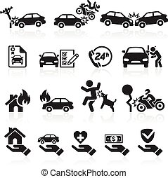 seguro, iconos, set., vector, illustration.