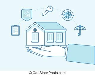 seguro lar, conceito, -, ilustração, e, infographics, projete elementos
