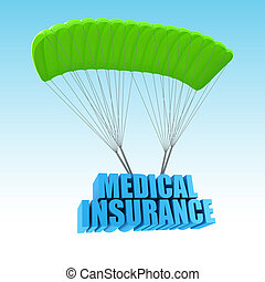 seguro médico, 3d, concepto, ilustración
