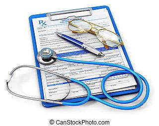 seguro médico, e, cuidados de saúde, conceito