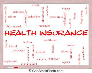 seguro médico, palabra, nube, concepto, en, un, whiteboard