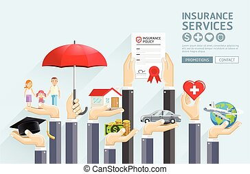 seguro, manos, services., vector, illustrations.