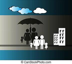 seguro, ou, proteja, família