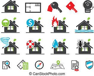 seguro, propiedad, iconos