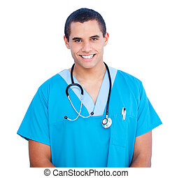 seguro, retrato, doctor, uniforme, macho, azul, llevando