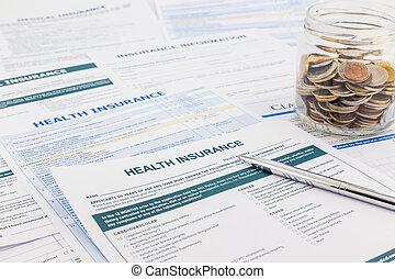 seguro saúde, formulários, para, médico, diagnosis.