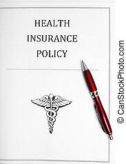 seguro saúde, política, com, caneta
