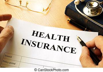 seguro saúde, política, ligado, um, tabela.