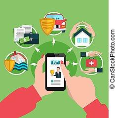seguro, servicios, comprar en línea directa, ilustración