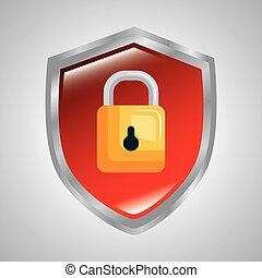 seguro, sistema, padlock, proteção, dados, escudo