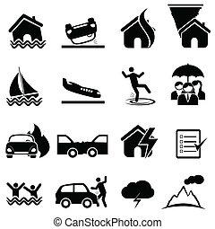 seguro, y, desastre, icono, conjunto