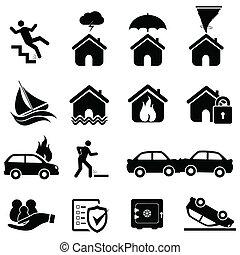 seguro, y, desastre, iconos