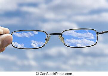 sehen, der, himmelsgewölbe, durch, brille