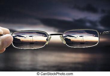sehen, durch, sonnenuntergang, meer, brille