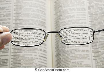 sehen, durch, wörterbuch, brille