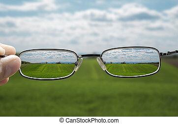 sehen, landschaftsbild, durch, brille