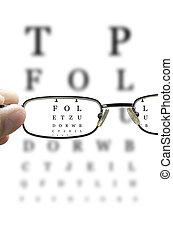 sehen prüfung, durch, brille, senkrecht
