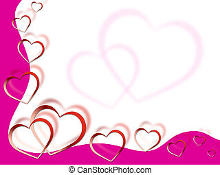 sehnsucht, liebe, rosafarbener hintergrund, herzen, shows