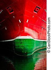 sehr, groß, schiff, frontface