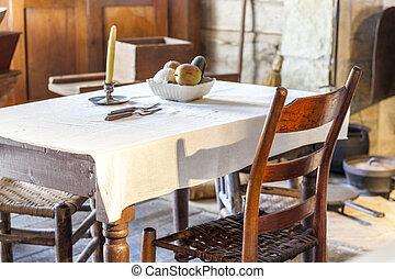 sehr, tisch, stuhl, altes , kueche