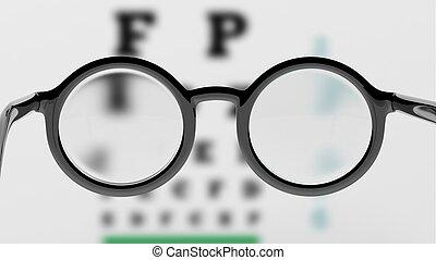 sehvermögen, brille, round-lens, paar, verwischen, pr�fung