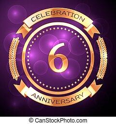 sei, anni, celebrazione anniversario, con, dorato, anello, e, nastro, su, viola, fondo.