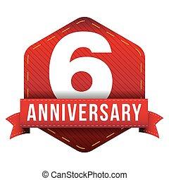 sei, anniversario, nastro, anno, distintivo, rosso