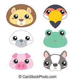 sei, carino, cartone animato, testa animale, icone