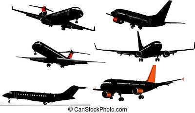 sei, illustrazione, silhouette, vettore, aeroplano, grafici