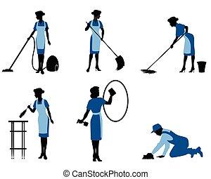 sei, pulizia, lavorante