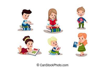 sei, vario, vettore, lettura, bambini, illustrazioni, posizioni, set, libri
