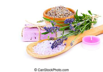 seife, freigestellt, bad, lavendel, hintergrund, kerze,...