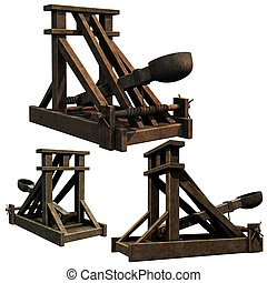 3d renders of a medieval catapult siege engine