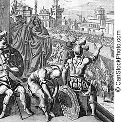 Seige of Samaria on engraving from the 1700s. Engraved by J.Kip after a picture by G.Freman.